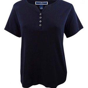 Karen Scott Black Henley T-shirt